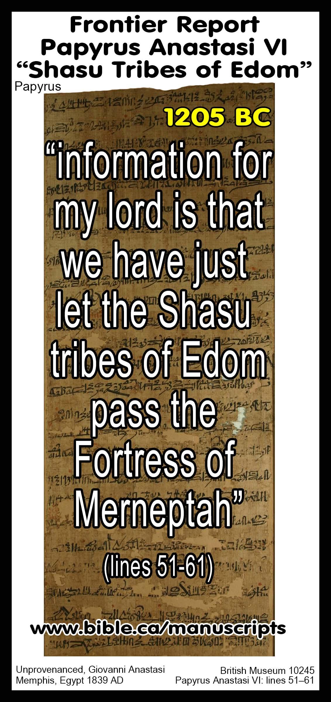 1205 Bc Egyptian Papyrus Anastasi 6 Shasu Tribes Of Edom