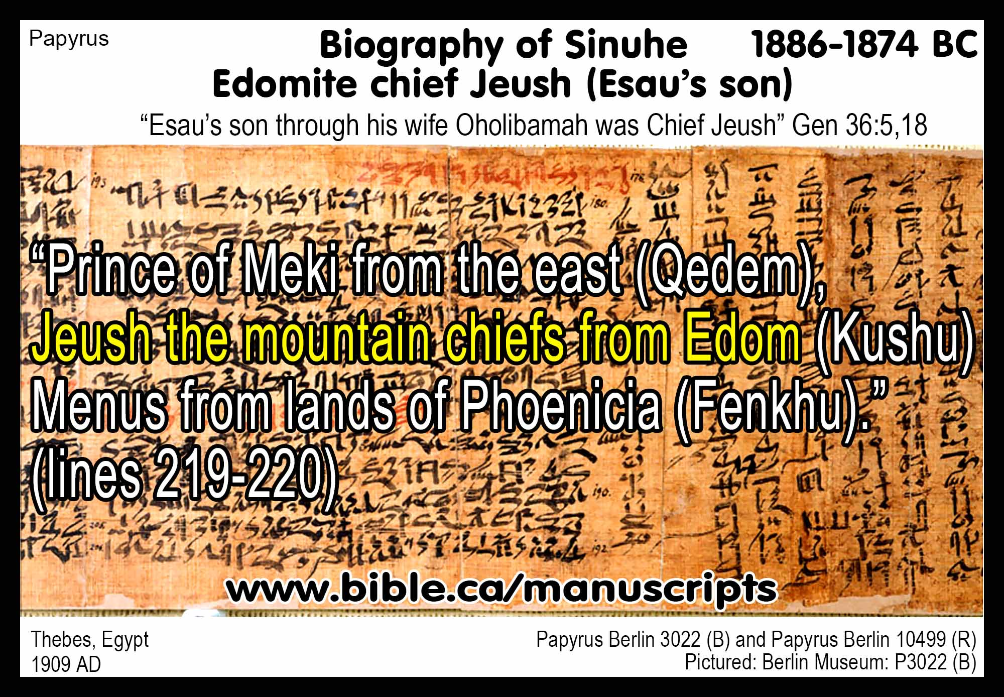 the story of sinuhe confirms gen 36 15 18 in 1900 bc