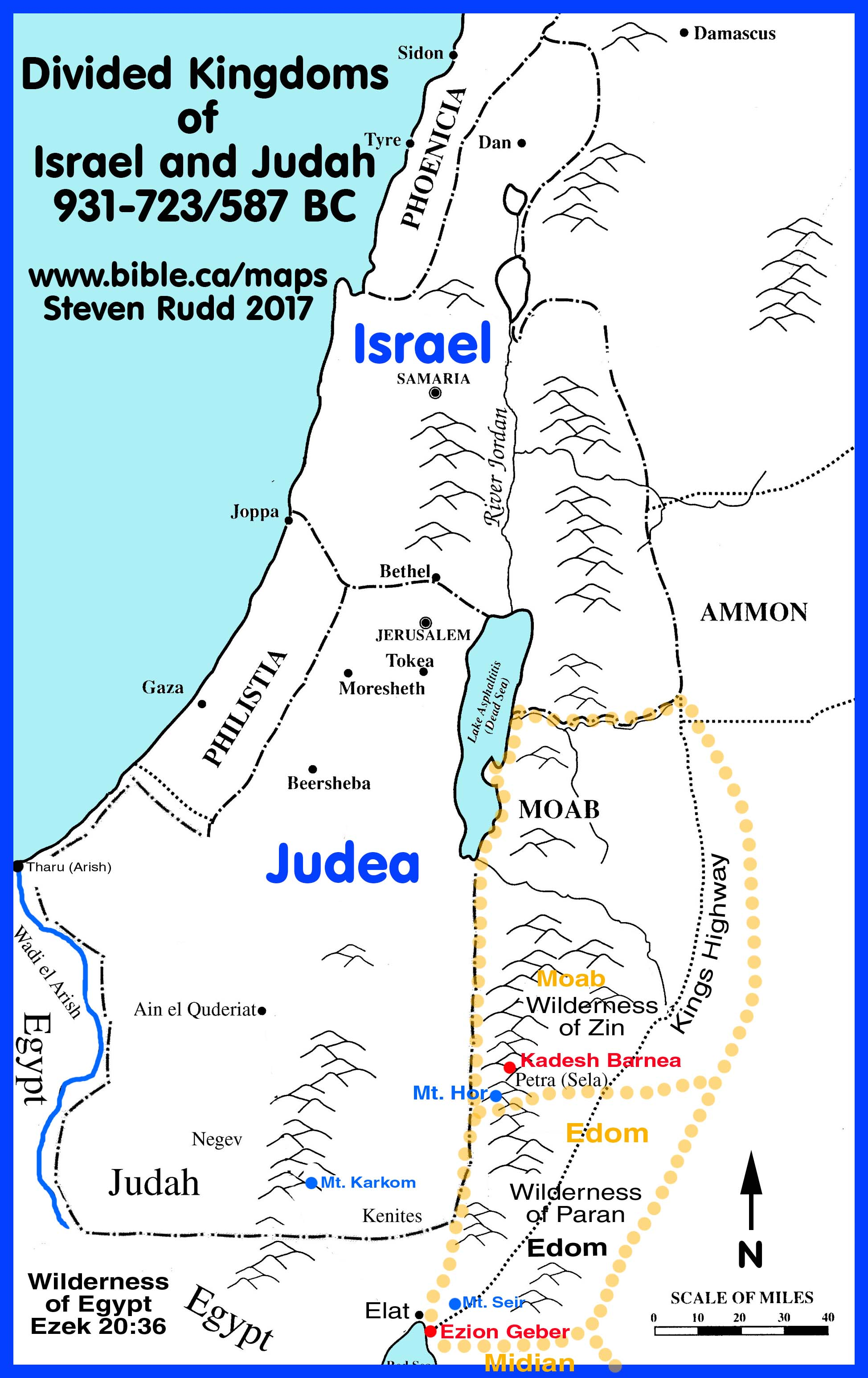 Map Divided Kingdom Israel Judah http://www.bible.ca/maps/maps-divided-kingdom.htm