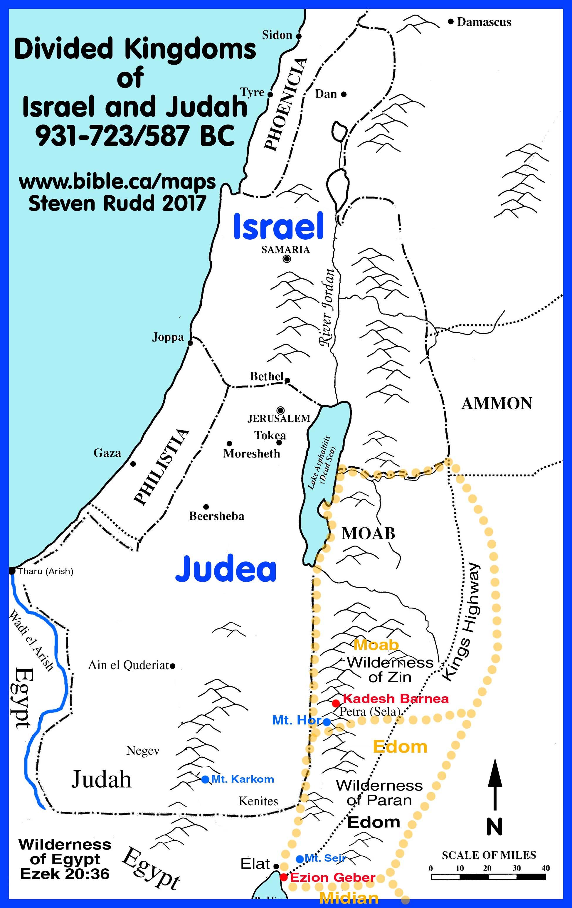 Map Of Israel Divided Kingdom Bible Maps: The Divided Kingdoms. 900 722 BC