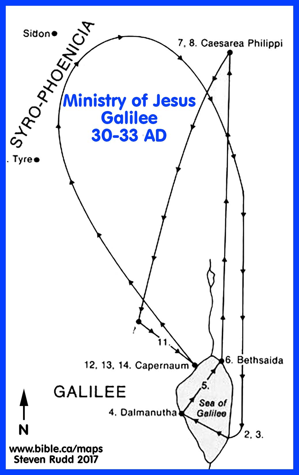 {Bible Maps The Ministry of Jesus 3033 AD – Map Of Jesus Travels