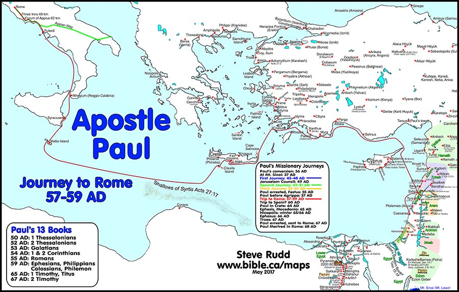 Free Bible Maps of Bible Times and Lands – Map Of Pauls Travels
